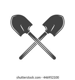 Two crossed shovels. Black on white flat vector illustration, logo element isolated on white background