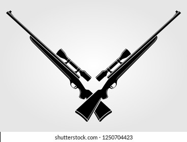 Two crossed sniper rifles isolated on white background. Vector illustration.