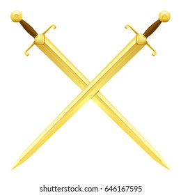 Two crossed swords of gold on white background. Severe cold weapon with straight blade at ethnic times vector illustration.