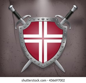 Two Crossed Swords that are Behind the Shield. The Shield has a Space for Lettering or Logo. Medieval Background Vector illustration