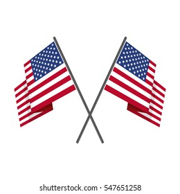 Two crossed United States (USA) national flag on isolated white background. Waving American Flag in flat style. Vector illustration.
