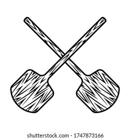 Two crossed wooden pizza shovels vector monochrome objects or design elements isolated on white background