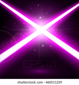 Two Crossing Purple Lasers Background. Light Futuristic Swords Fight. Design Elements for your Project. Vector Illustration.