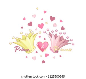 Two crowns: golden and pink. Inscriptions: Prince and Princess. Around the crowns of pink and yellow hearts and medallion in the form of heart. Vector cartoon elements for decoration or greeting cards