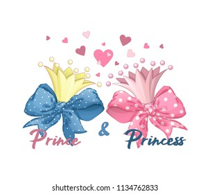 Two crowns: golden and pink. Inscriptions: Prince and Princess. Around the crowns of pink and yellow hearts and lush bows. Vector cartoon elements for decoration or greeting cards.