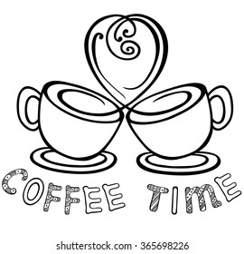 two cups of coffee with the rising steam as a heart