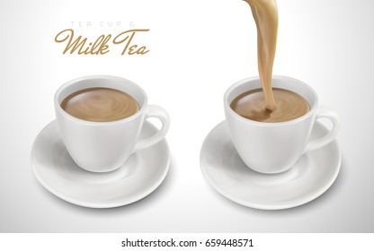 two cups filled with milk tea, one pouring down, 3d illustration