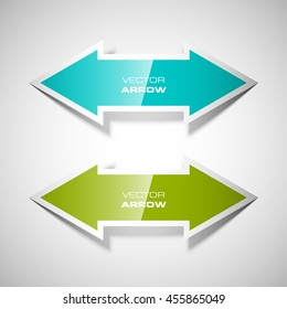 Two curved arrow. 2 direction banner shape. Trend form