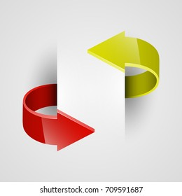 Two curved circle arrow ribbon. 2 direction round banner shape. Trend arrow stripe form, flat icon