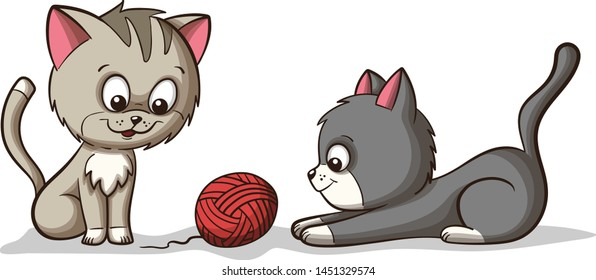 Two cut kittens play with woll. Hand drawn vector illustration.