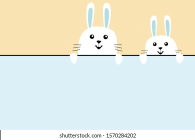 Two cute adorable rabbit peeking, play peekaboo, funny bunny cartoon character, happy easter holiday, copy space.