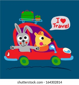 Two cute animals are on the way with red car. Vector illustration