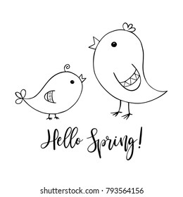 Two cute birds, big and small, mother and baby, spring symbol, with Hello spring calligraphic text, black line doodle drawing on white background, hand drawn vector illustration.