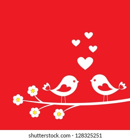 Two cute birds. Card for Valentine day