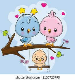 Two cute birds on a branch and a chick on the swings