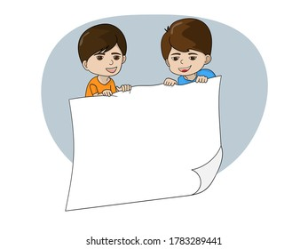 Two cute boys holding a blank white paper board