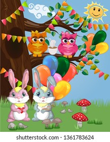 Two cute bunny with balls in a forest glade. Boy and girl, concept spring, love, postcard