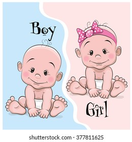 Two Cute Cartoon babies boy and girl