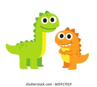 Two cute cartoon dinosaurs vector illustration. Happy dinosaur friends drawing.