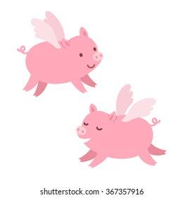 Two cute cartoon flying pigs. Isolated vector illustration.