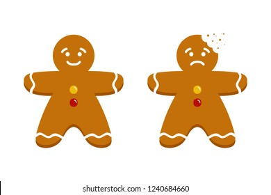 Two cute cartoon gingerbread men, christmas traditional cookies, biscuits, whole and with teeth bite mark.