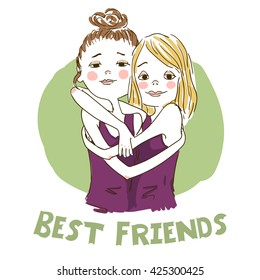 Two cute cartoon girls best friends hugging. Vector illustration