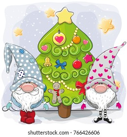 Two cute cartoon gnomes and Christmas tree