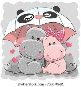 Two Cute Cartoon Hippos with umbrella under the rain