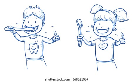 Two cute cartoon kids, brushing their teeth. Hand drawn line art cartoon vector illustration.