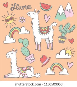 Two cute cartoon llamas with a set of doodle elements including cacti and rainbows. Vector illustration.