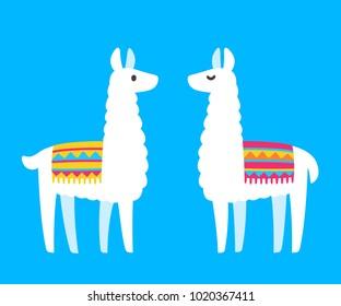 Two cute cartoon Llamas. South American animal bright and simple drawing. Vector llama couple illustration.