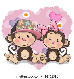 Two Cute Cartoon Monkeys on a heart background