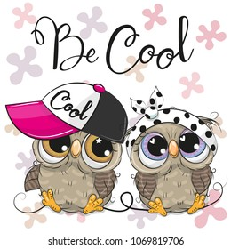 Two Cute Cartoon Owls boy and girl with cap and bow