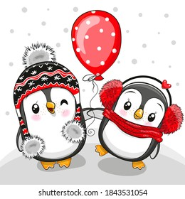Two cute Cartoon penguins with balloon on a white and gray background