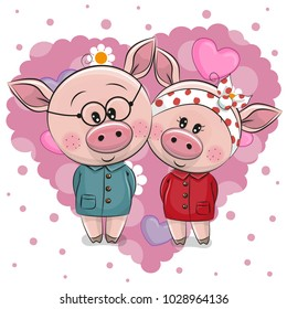 Two Cute Cartoon Pigs on a background of heart