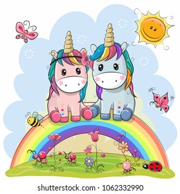 Two Cute Cartoon Unicorns are sitting on the rainbow