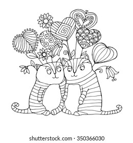 Two cute cats falls in love and flies in seventh heaven on patterned heart like balloons, page  for adult  coloring  book, vector design for Saint Valentine's Day