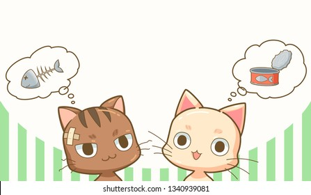 Two cute cats are hungry, the pet cat thinks of canned food and stray cats think of fishbone – vector