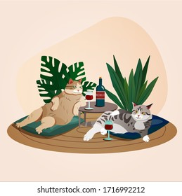 Two cute chunky sommelier cats sitting on pillows drinking wine and having a good time. Trendy vector illustration.