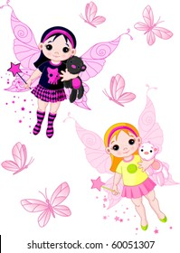 Two cute fairies   blond and brunette, flying with butterflies
