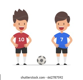 Two cute football player enemies or opponents standing preparing to fight, Vector illustration flat design style and isolated