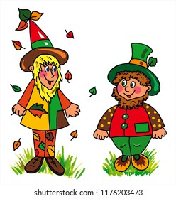 Two cute forest and garden dwarfs are collecting leaves in the forest. Colored vector for card or gift.