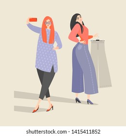 Two cute girls choose clothes in the store and take a selfie. Vector illustration in flat style.