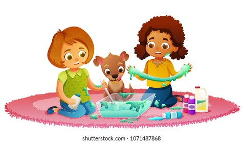 Two cute girls and dog sitting on pink carpet having fun making slime. Isolated vector illustration.