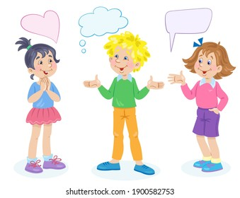 Two cute girls and a funny boy are talking. Dialog with speech bubbles. Place for text. In cartoon style. Isolated on white background. Vector flat illustration.