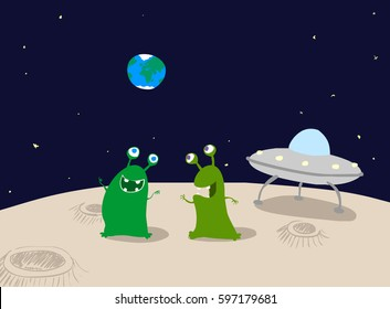 Two cute green aliens on the moon next to craters and a spaceship with the earth visible in the distance.