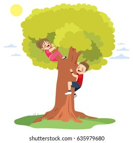 Two cute happy little children having fun climbing big tree