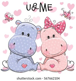 Two cute Hippos on a hearts background