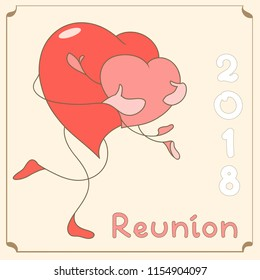 Two cute hugging hearts. A card for reunion.