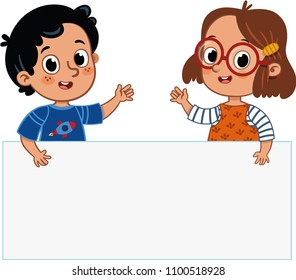 Two cute kids are holding a banner. Vector illustration.